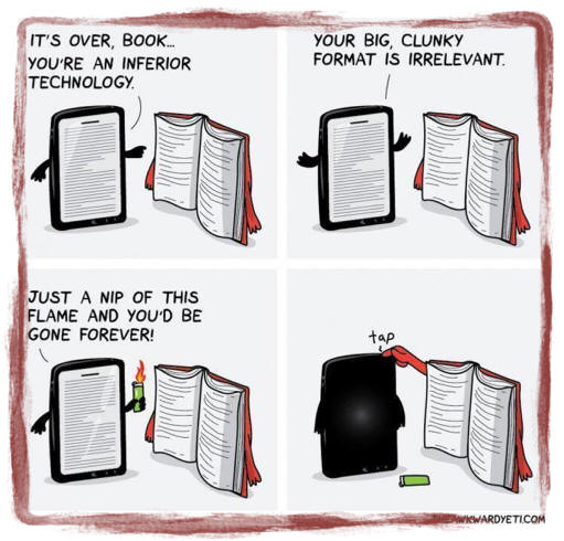 Book vs Kindle Cartoon